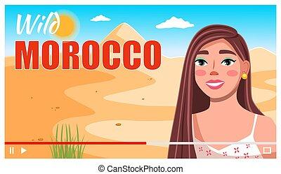 interface., vídeo, entrevista, morocco., vector, blog, joven...