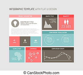 interface, vecteur, infographic, plat, utilisateur