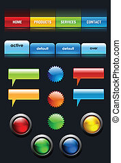 interface, web, communie, set, gebruiker
