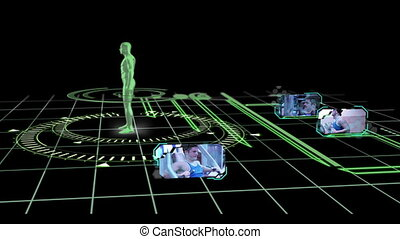 Black and green interface with revolving human body showing various gym clips