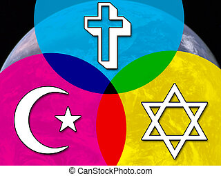 Interfaith dialog concept, with planet Earth in the...
