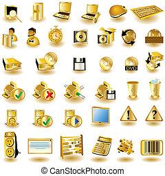 interfaz, 2, oro, iconos