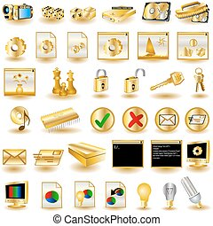 interfaz, 3, oro, iconos