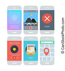 interfaz, aplicación, smartphone, elementos