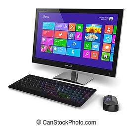 interfaz, computadora, touchscreen, escritorio