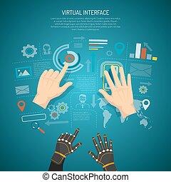 interfaz, concepto, diseño, virtual