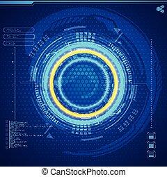interfaz, gráfico, usuario, futurista