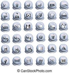 interfaz, gris, iconos