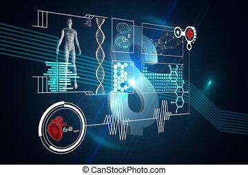 interfaz, imagen compuesta, médico