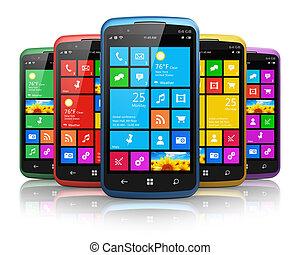 interfaz, moderno, touchscreen, smartphones