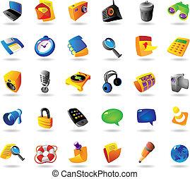 interfaz, realista, conjunto, iconos