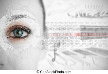 interfaz, tabla, circuito, cierre, plano de fondo, binario, actuación, futurista, códigos, arriba, ojo, mujer