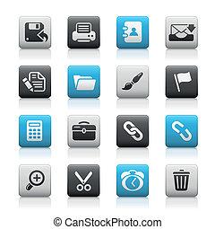 interfaz, tela, mate, /, botones