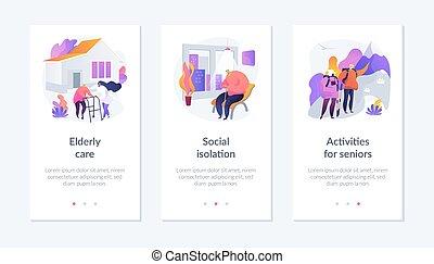 interfaz, template., viejo, app, gente, estilo de vida