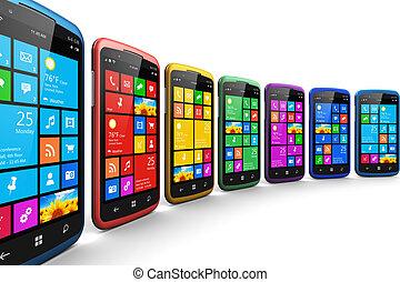 interfaz, touchscreen, moderno, smartphones