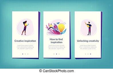 interfejs, app, twórczy, template., natchnienie