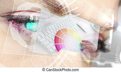 interfejs, graficzny, pokaz, futurystyczny, projektować