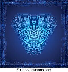 interfejs, graficzny, użytkownik, futurystyczny