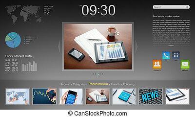 interfejs, nowoczesny, desktop