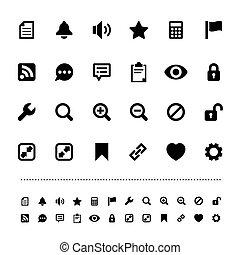 interfejs, siatkówka, komplet, ikona