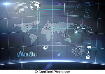 interfejs, technologia, futurystyczny