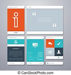 interfejs użytkownika, wektor, szablon, elem