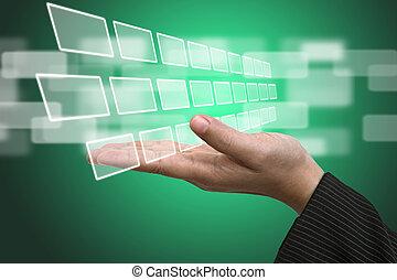 interfejs, wkład, ekran, technologia