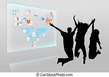 interfejs, złożony, technologia, wizerunek