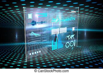 interfejs, złożony wizerunek, handlowy