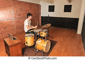 interferencia, ladrillo, madera, estudio, tambor