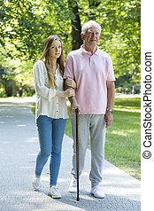 intergenerational, mujer, relación, hombre, entre