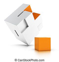 intergration, aus, fehlend, puzzel, weißer hintergrund, orange, teil, symbol, 3d