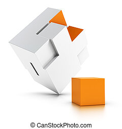 intergration, sur, disparu, puzzle, fond blanc, orange, partie, symbole, 3d