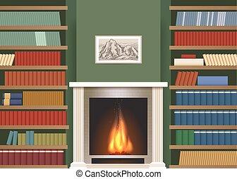 interieur, boek, classieke, planken