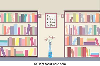 interieur, bookshelves, bibliotheek