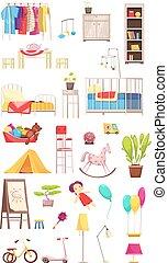 interieur, communie, set, kinderen, kamer