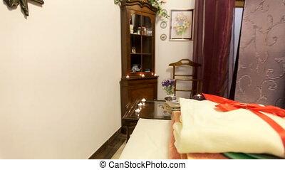 interieur, details, in, een, spa., plek, voor, masseren