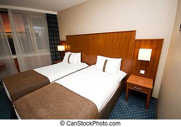 interieur, dubbel, moderne kamer, bed