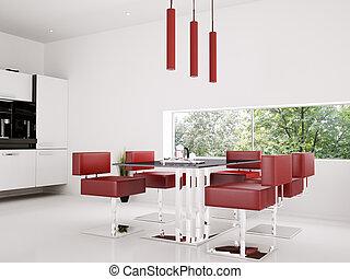 interieur, eetkamer, render, 3d