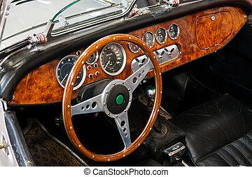 interieur, en, dashboard, op, een, ouderwetse , sportautootje