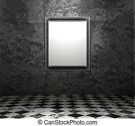 interieur, fotolijst, grunge, lege