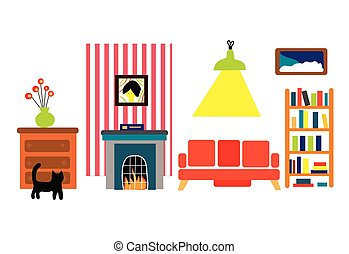interieur, gekke , stijl, kamer, plat