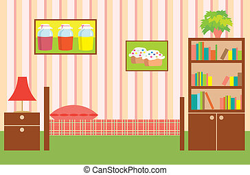 interieur, girl., kamer