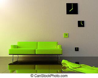 interieur, -, groene, fluweel, sofa, en, tijdzone, klok
