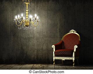 interieur, grunge, kamer, met, classieke, leunstoel