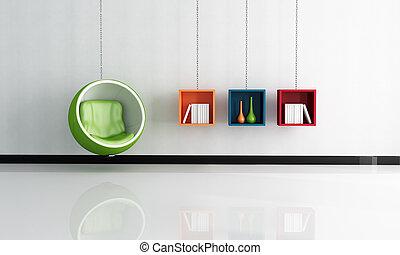 interieur, helder, bal, groene stoel