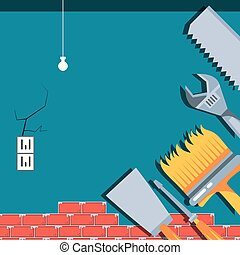 interieur, huizenbouw, gereedschap, onder