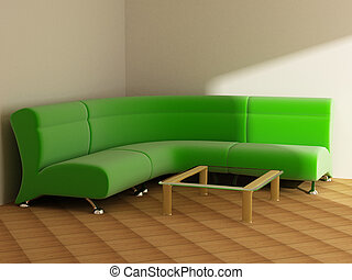 interieur, in, licht, tonen, sofa, tafel