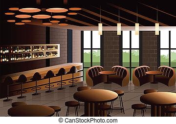 interieur, industriebedrijven, blik, restaurant