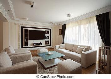 interieur, kamer, levend